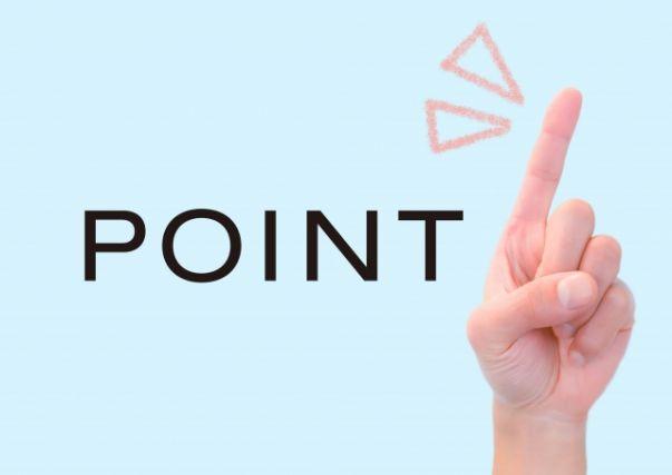 立てた人差し指とpointの文字